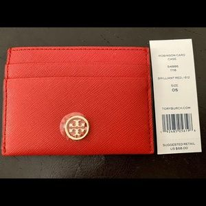 Tory Burch Robinson Card Case in Brilliant Red BN